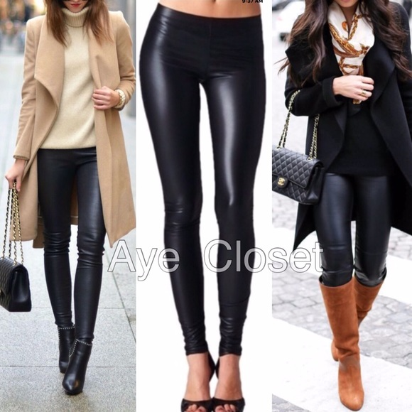 73e8abd6472c Matte black faux leather leggings sexy